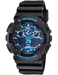Patrón de disfraz azul de hombres Casio G-SHOCK de cuarzo reloj de pulsera : GA-100CB-1A