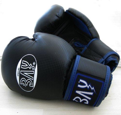 "BAY® ""fresh mesh"" Boxhandschuhe schwarz/blau 12 Unzen mit Netz-Gewebe, Box-Handschuhe, Carbon Look, UZ OZ, PU-Leder, Profi Delux, Kickboxen, Boxen, Thaiboxen, Muay Thai, Herren Damen Kinder Jugendliche Junioren"