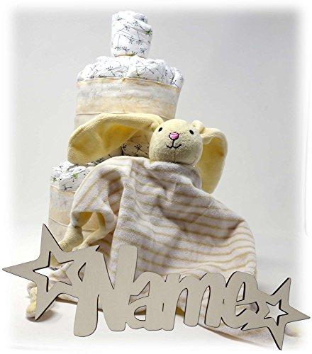 Windeltorte Schnuffeltuch Hase neutral für Junge und Mädchen Set mit Baby Nachtlicht Schlummerlicht I Windel Geschenke zur Geburt & Taufe