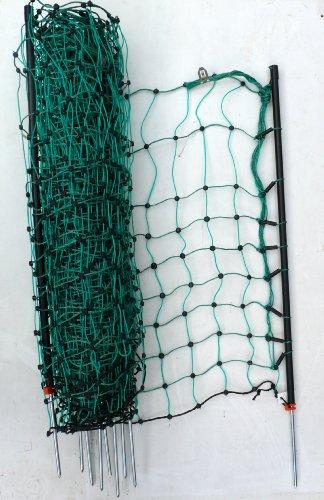 *elektrischer Zaun Netz bis 50m ausrollbar / 65 cm hoch, nur 5,9cm Maschenweite inkl. 14 Pfähle + Heringe Auslauf Gehege Kaninchen Gartenzaun Kaninchennetz Hasenzaun Kaninchenzaun grün (mit oder ohne Strom verwendbar)*