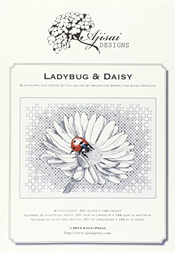 Ladybug & daisy. Cross stitch and blackwork design Blackwork-design