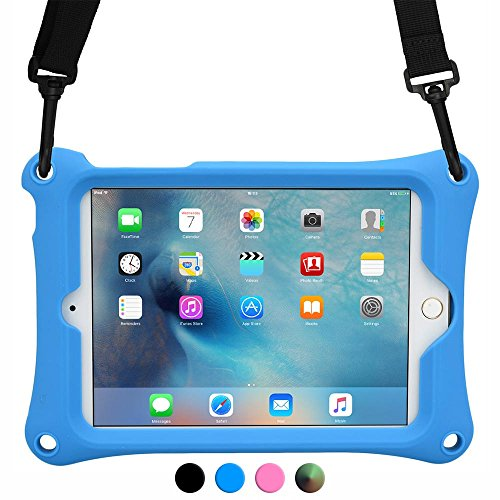 Apple iPad Mini 1 2 3 4 case, COOPER BOUNCE STRAP Shoulder Strap Heavy Duty Work Rugged Tough Protective Drop Shock Proof Rubber Bumper Silicon Carry Kids Toy Holder Cover Bag with Stand (Blue)