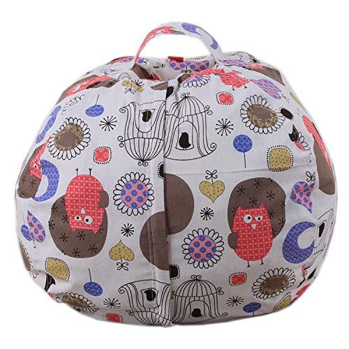 Youngshion - Puf de lona impresa divertida con relleno de animales, bolsa de almacenamiento, silla de peluche, organizador de ropa de juguete para niños, funda de suave diseño, lona, Owls, 26''