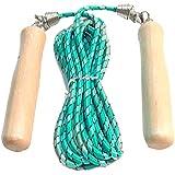 حبل قفز قطن قابل للتعديل بمقابض خشبية مريحة