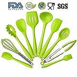 YUL 10 Pezzi in Silicone Resistente Al Calore Utensili da Cucina Con Igienico Rivestimento Solido, Non Tossico, Anti-aderente, Senza BPA (Verde)