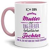 Tasse mit Spruch Mutter Farbtasse Innen und Henkel Rosa - Kaffeetasse/Mug/Cup - Qualität Made in Germany