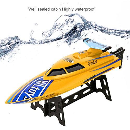 Smibie 2,4 GHz RC Boote Electric Racing Boot 25KM / H High Speed Wasserdicht für Beginners Pools und Seen und Outdoor Adventure (Gelb)
