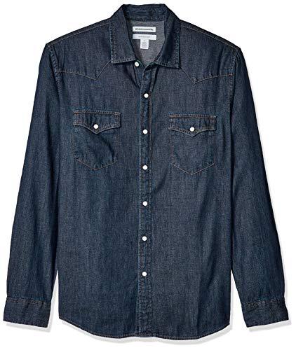 Amazon Essentials - Camisa tejana de manga larga y corte recto para hombre, Rinsed, US L (EU L)