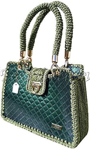 Damen Lack Handtasche Gehäkelte dunkelgrüne gesteppte Henkeltasche Designer Luxus Tote Tasche mit Geflochtenem Griff Exklusive Tasche mit Muster -