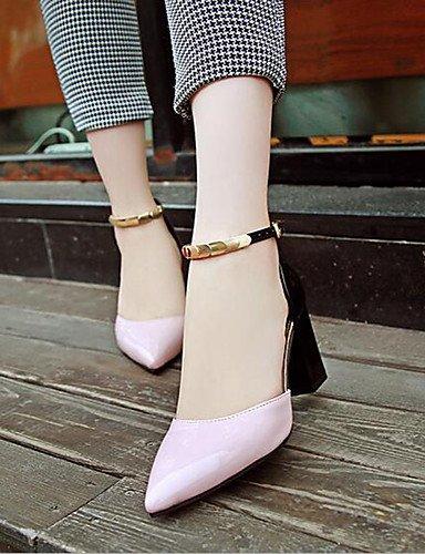 WSS 2016 Chaussures Femme-Bureau & Travail / Soirée & Evénement-Noir / Rose / Blanc-Gros Talon-Bout Pointu-Talons-Cuir Verni pink-us6.5-7 / eu37 / uk4.5-5 / cn37