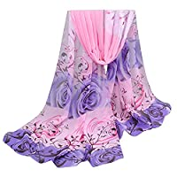 SUNNOW® Women Ladies Elegant Dandelion Pattern Soft Long Sheer Chiffon Scarf Scarves Wrap Shawl (One Size, Rose Print-Pink)