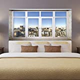 MYLOOO Europe Town Scenery Fake Window Wall Decorative Stickers Sitting Room Adornment Bedroom The Head Of A Bed Wall Stickers 45X180Cmx2Pcs