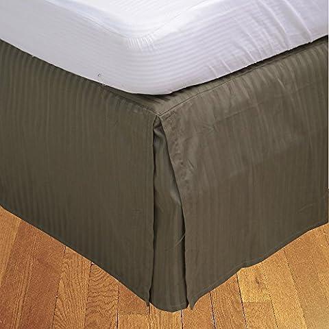 BudgetLinen Box a pieghe gonna letto ( Valance Sheet )(Muschio a_righe,Unico lungo (3 piedi x 6ft 6