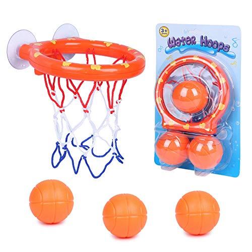 SIMUER Spaß Bad Basketballkorb & Bälle Spielset Baby Badespielzeug Kreative Badewanne Schießen Spiel Mini Basketballkorb und 3 Bälle Spielset mit Saugnapf Badewanne Schießen Spiel für Kinder