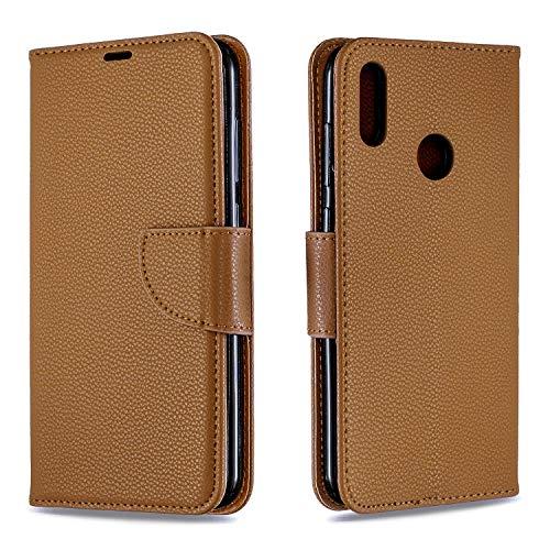 Klassikaline Schutzhülle kompatibel mit Huawei Y6 2018 Hülle Handyhülle Handy-Tasche Wallet Case Cover für Huawei Y6 2018 [Brown] Brown Handy Case