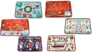 Gifts 4 All Occasions Limited SHATCHI-345 - Juego de alfombrillas para puertas de Navidad, diseño de Papá Noel, multicolor, 1 unidad