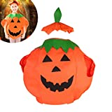 Kinder Kinder Kürbis Halloween Kostüm Halloween Laterne Gesicht Shirt Kleidung mit Beanie Hut (Orange)