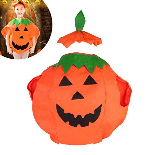 s Halloween Kostüm Halloween Laterne Gesicht Shirt Kleidung mit Beanie Hut (Orange) ()