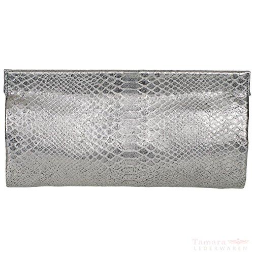 Abro python métallique 026153-85 en cuir pour femme vintage sac clutch 31 x 16 x 8 cm Gris - guncolor