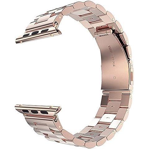 Minidiva 38mm de Apple correa de reloj del acero inoxidable y correa de reemplazo con el botón plegable doble para Apple Watch (Rosa de Oro)