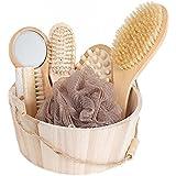 UKGOOD récemment publié 100% sanglier soies naturelles 7-en-1 bain spa luxueux corps de bain sec brosse arrière, brosse de massage du corps de poignée en bois de cerisier et brosse teint du visage, gommage kit d'outils brosse de massage set kit d'accessoires de douche, le choix parfait pour Spa