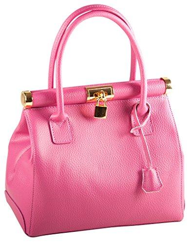 Pelle Italy Damen Henkeltasche Leder 28x25x15 cm (BxHxT), Farbe:Gelb Pink