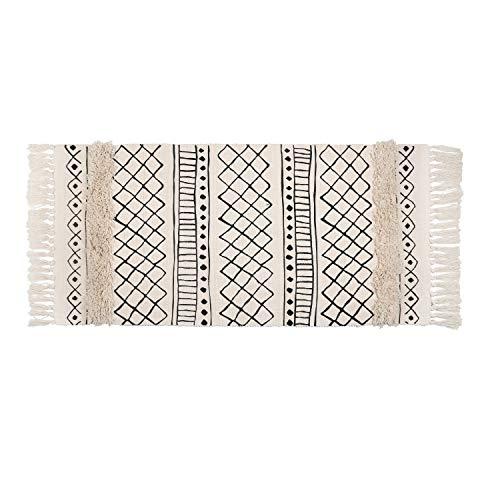 SHACOS Teppich getuftet Baumwollteppich Waschbar Terrassen Teppich Retro Bedruckt Schwarz Teppiche Läufer Wohnzimmer Schlafzimmer Eingangstür 60x130 cm