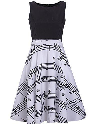 Sylvia QEr Frauen Musik Noten Floral bedruckt Flare Dress Casual Sleeveless Swing Kleider Musiknoten Schwarz XL Floral Musik