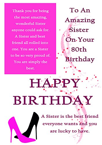 Sister 80th Birthday Card With Removable Laminate