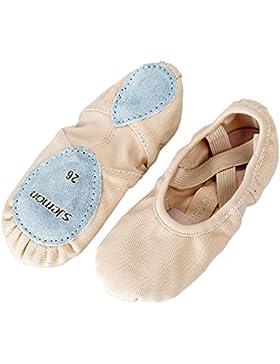 S.Lemon Hermosa Zapatos de Ballet Elásticos de Lona Zapatos de Baile para Niñas Mujeres Niños Pequeños Adulto...