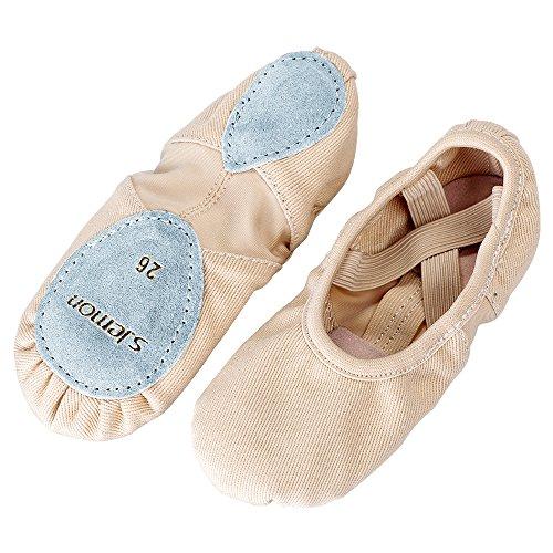 s.lemon Elastico Scarpe Danza Classica Tela Morbido Scarpe da Ballo Scarpette da Danza Ballerina con Suola Diviso Ballo Pantofole per Le Ragazze Bimba Donna delle Signore Uomini(31 EU)