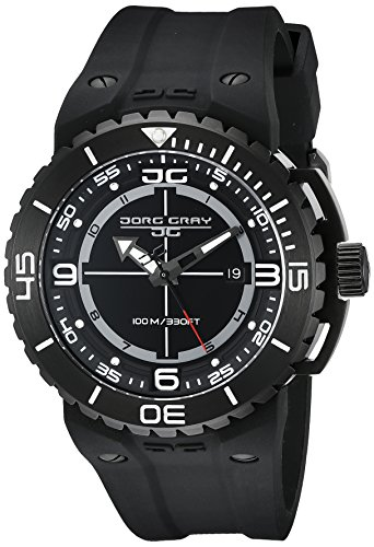 Jorg Gray Men's Quartz Watch with Black Dial Analogue Display and Black Silicone Strap JG8700-13
