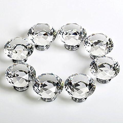Denshine 8pcs Diamante Vidrio Cristal Vaso 30mm Pomos Tiradores Perilla Puerta Cajón para Armario y gabinete decoración de la