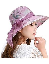 LONTG estivi donna cappello da sole Protezione UV spiaggia tappi pieghevole  cappelli a tesa grande fiocco con nastro di… acb1caeacedc