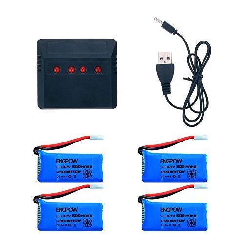 Toifucos Drone Batería 4 Pcs 3.7V 500mAh de la Li-po Battery y...