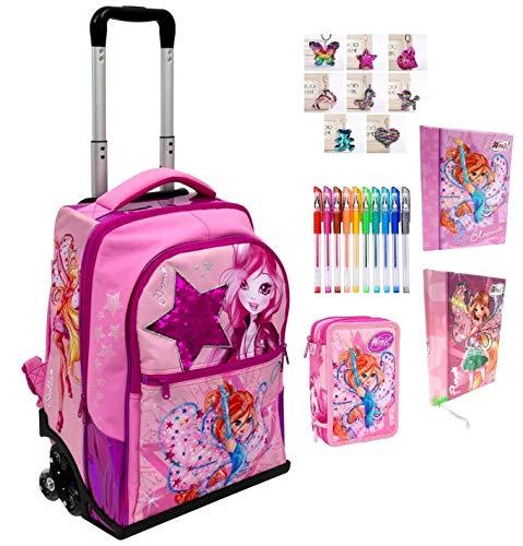 Trolley zaino scuola winx club fucsia + astuccio 3 piani completo zip + diario + omaggio portachiave girabrilla + 10 penne colorate + segnalibro