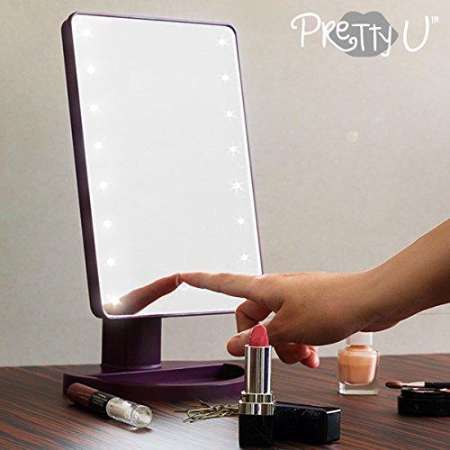 Mamzelle O Preety U Espejo LED de Sobremesa, Morado, 12x17x27 cm