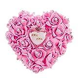 Mystery&Melody Romantische herzförmige weiße Rose Kissen Hochzeit Ehering Box Ringkissen mit eleganten Blumen Kissen Satin Ring (Pink)