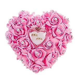 Mystery&Melody Romantische herzförmige weiße Rose Kissen Hochzeit Ehering Box Ringkissen mit eleganten Blumen Kissen Satin Ring