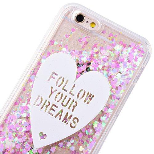 """GrandEver Coque iPhone 6 / 6s 4.7"""" Cœur Motif Design Transparente à Paillette Rose Dur Plastique PC Glitter Liquide Crystal Antichoc Case Etui Housse pour iPhone 6s / iPhone 6 4"""