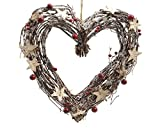 Natur-Kranz-Herz, zum Aufhängen, mit Sterne, Größe: 30 cm, braun