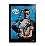 Arthole.it Terminator T-800 (Schwarzenegger) dal Film Terminator 2 (James Cameron) - Quadro Pop-Art Originale con Cornice, Dipinto, Stampa su Tela, Poster, Locandina