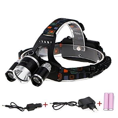ThorFire LED Stirnlampe sehr hell LED Kopflampe zum Laufen, Camping, Radfahren, Angeln, Gassi gehen, Lesen, Arbeiten, Handwerk oder Naturabenteuer - Einstellbar,3 Lichtmodi mit 2X 2200mAh 18650 Batterie, 1 Wand Ladegerät & 2 USB Auto Ladegerät
