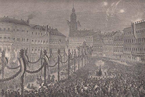 Frankfurt a. Main - Empfang des deutschen Kaisers in Frankfurt. Ansicht von einer kleinen Anhöhe aus. Der Kaiser sitzt in einer offenen Kutsche und wird von einer Menschenmenge bejubelt, am Himmel ein Feuerwerk. [Grafik]