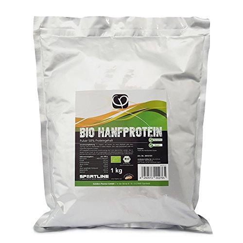 Bio Hanfprotein Pulver mit 50% Proteingehalt von Golden Peanut, 1 kg Beutel, natürliche Proteinquelle,EU Ware in Deutschland auf THC geprüft, aus kontrolliert biologischem Anbau