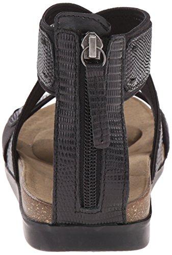 Rockport Romilly Gore Zip Sandal Cuir Sandales Gladiateur Black Lizard