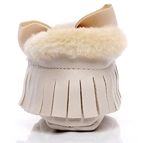 Saingace Krabbelschuhe boots 1 ~ 6 Alter Baby-Bowknot-weiche Sole-Schnee-Aufladungen weiche Krippe-Baumwollschuhe-Kleinkind-Aufladungen Beige