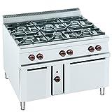 Macfrin H6E Cocina a Gas de 6 Fuegos y Horno 57 Kw