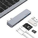 Hub USB C Adapter Aluminium mit 2 Type C Stecker, 1 Thunderbolt 3 Ladeanschluss, 1 USB C Port, 2 USB 3.0 Ports, SD/Micro SD Kartenleser für MacBook Pro 2016/2017 (Grau)