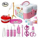 ThinkMax Doctors Kit, 15 Piezas de Juego médico, Dentista, Juguetes para niños (15 Pcs Pink)